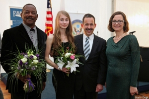 Stan, Klaudia, U.S. Ambassador to Poland Stephen D. Mull, Malgorzatta Krakowska (Fulbright Director)